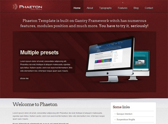 Phaeton Template for Joomla